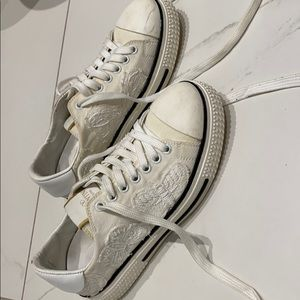 Denim Valentino butterfly embroidered sneakers